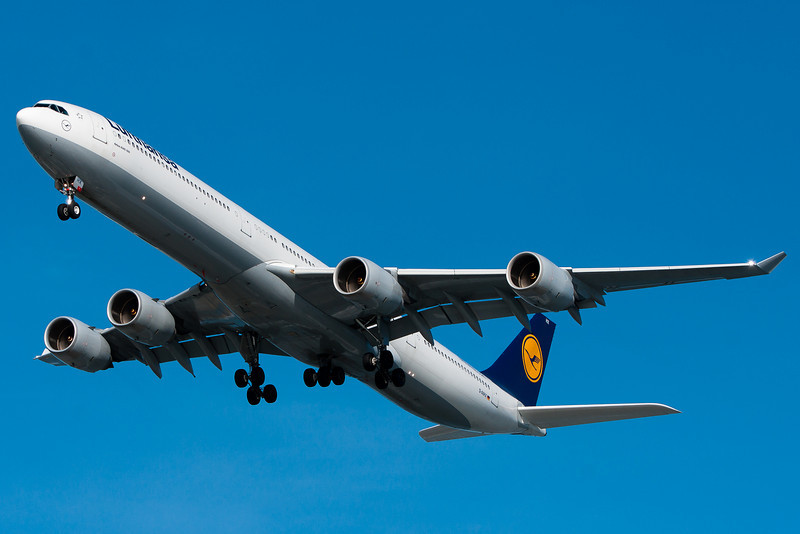 Lufthansa's A340-600 doesn't come by runway 27 too often, but it is nice when it does!