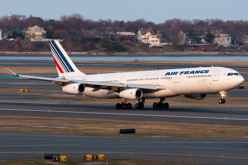 Air France 337, destined for Charles de Gaulle in Paris, France, rotates from runway 22R.