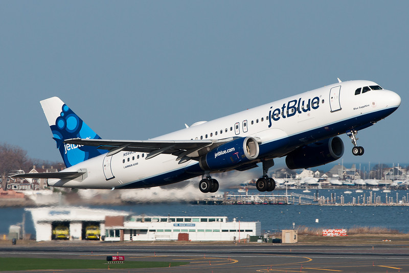 This new scheme JetBlue A320 departs Logan Airport on a sunny Saturday afternoon.