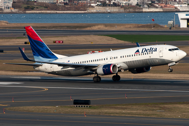 This Delta 737-800 is taking off from runway 22R.
