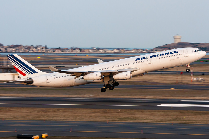 Air France 332, bound for Charles de Gaulle in Paris, France, pulls up from runway 22R.