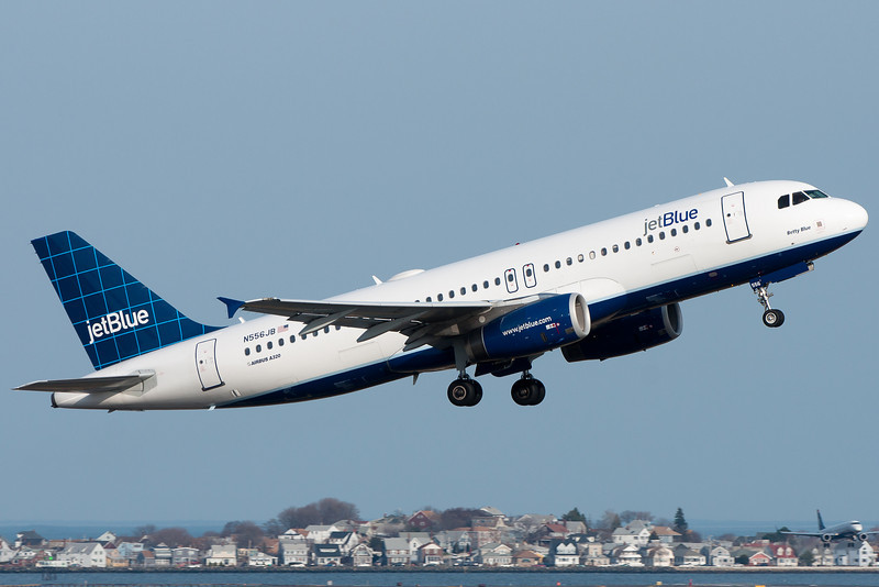 A JetBlue A320 departs Logan Airport.