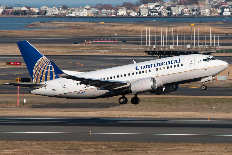 This Continental 737-500 departs Logan Airport.