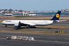 Lufthansa's A340-600 is on its way to the international terminal after arriving from Frankfurt.