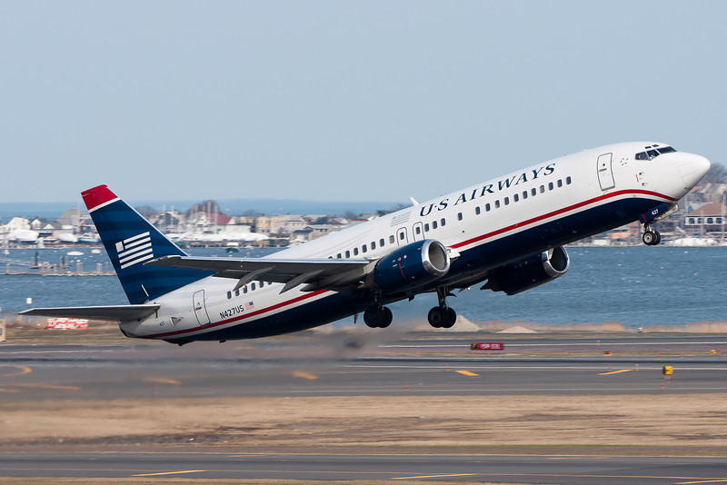US Airways 737-400 departing runway 22R.