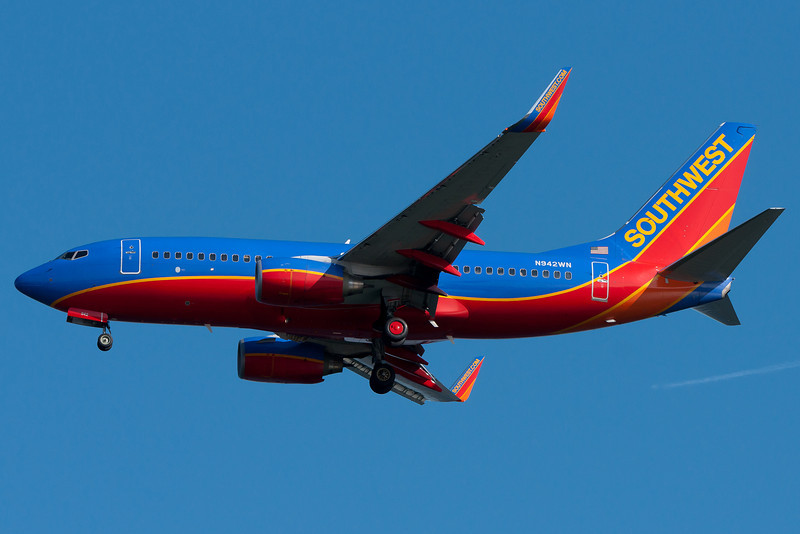This Southwest 737 is on final for runway 04R.