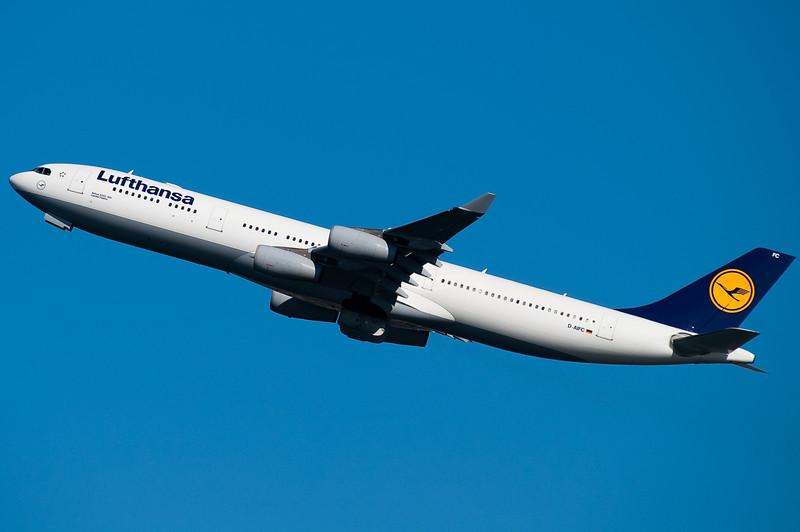 Lufthansa's A340 is off to Frankfurt.