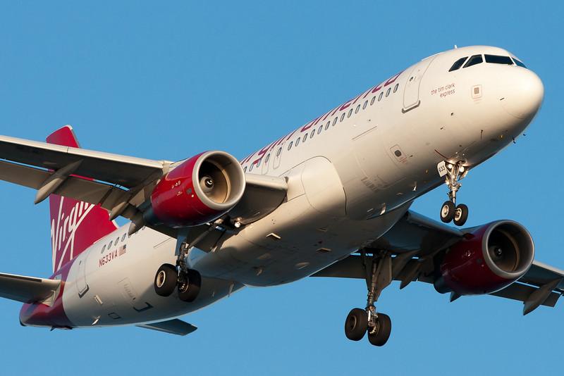 The Tim Clark Express, a Virgin America A320, on final for runway 27.