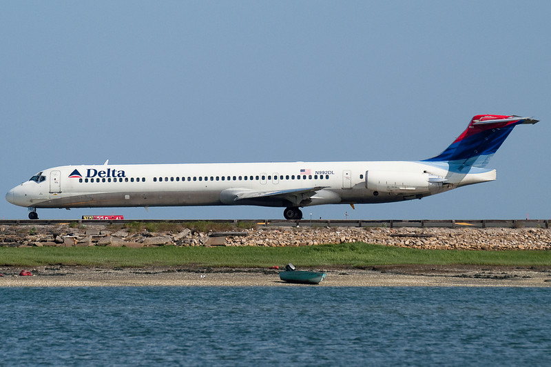 This Delta MD-88 is ready to depart Logan.