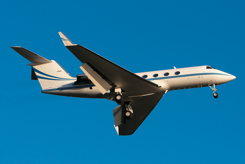 This Gulfstream was putting out quite a smoke trail as it arrived at Logan airport.