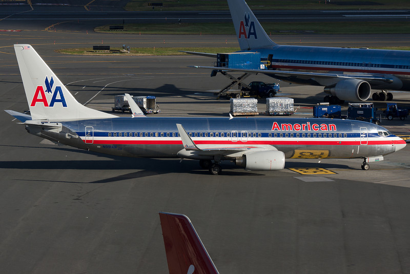 The American 737-800 is pulling up to its gate.