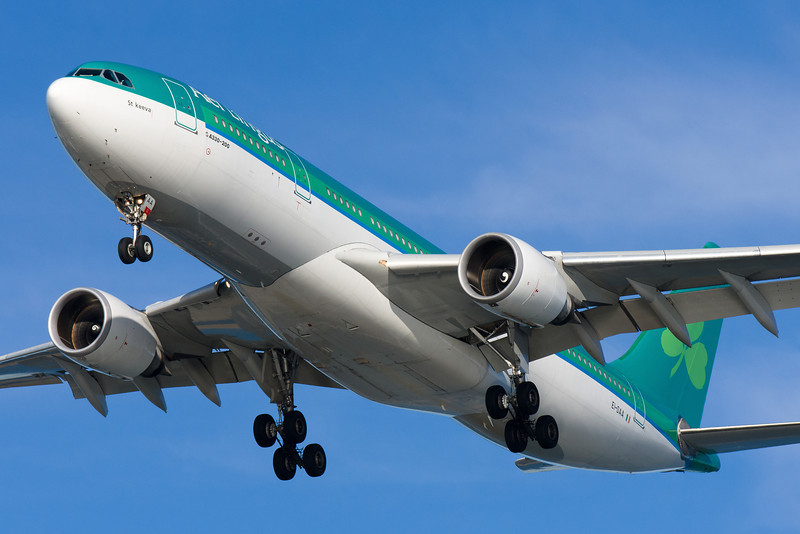 An Aer Lingus A330, St. Keeva, is on final for runway 27.