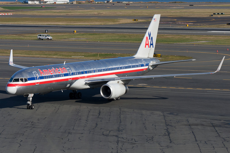 An American 757 is pulling up to its gate at Terminal B.