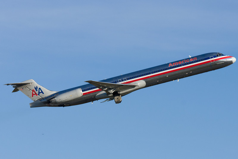 An American MD-82 departs Logan airport.