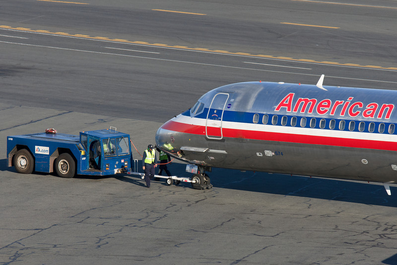 Pushback complete for this American MD-82.
