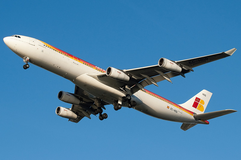Iberia's flight from Madrid is on final to 27.