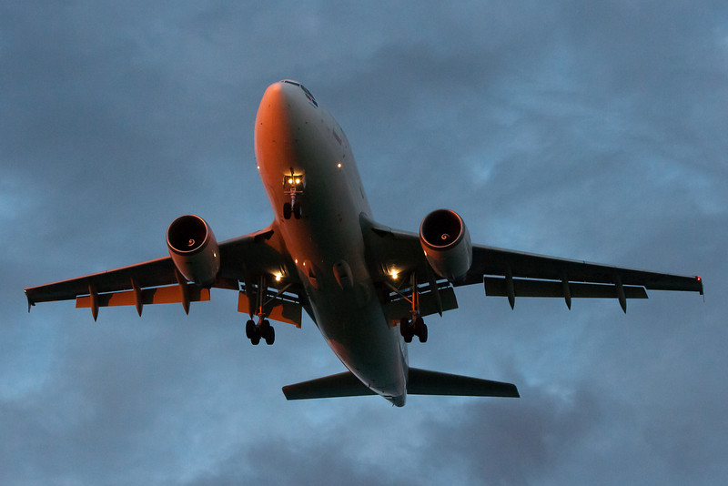 A SATA Airbus A310 on final to runway 27 after a flight from the Azores.