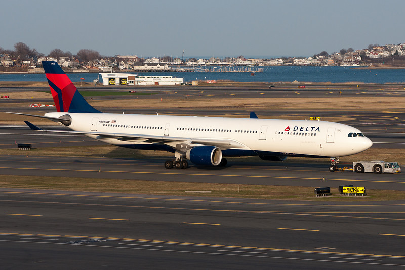 Delta's Amsterdam bound passengers board in terminal A. Therefore, the A330 requires a tow from Terminal E to A before it can depart.