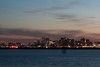 Boston's skyline at evening time.