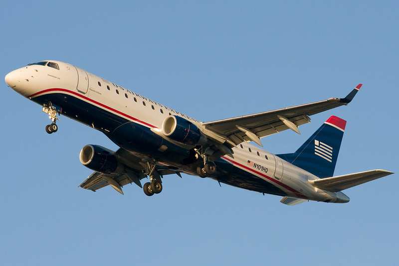 US Airways' neat looking E-190 is on final for 27.