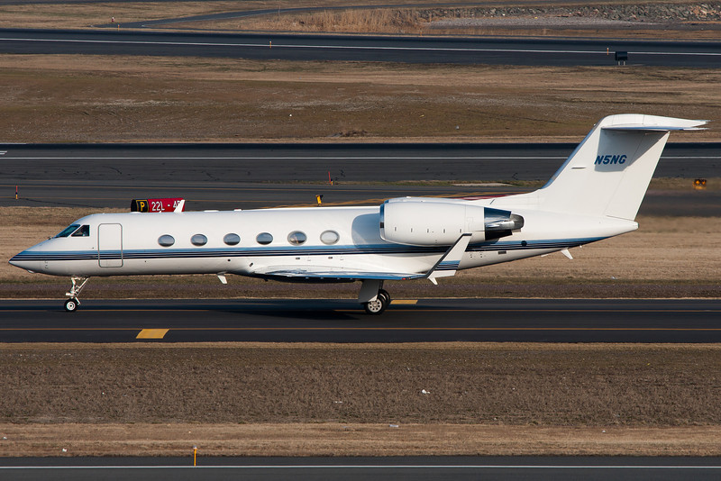 Northrop Grumman's Gulfstream-IV SP is taxiing to the ramp after arriving on runway 27.