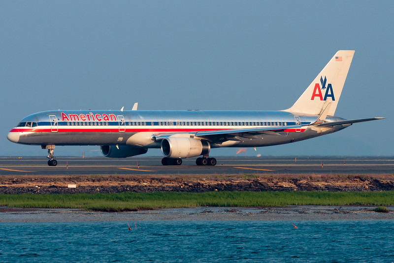 This American 757 equipped with winglets is heading out for departure.