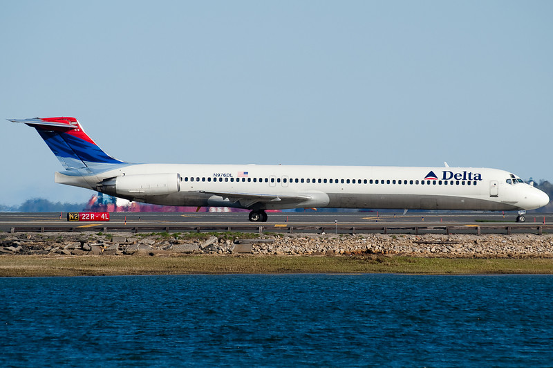 A Delta MD-88, a frequent visitor to Boston.