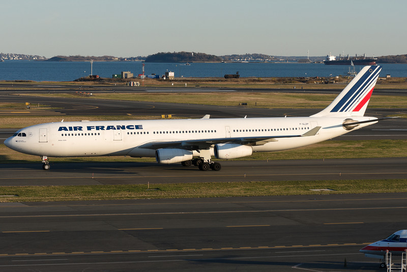 Air France's A340-300 arrives at Logan airport. The 747 is off the route for now, and it will use Airbus equipment for the winter season.