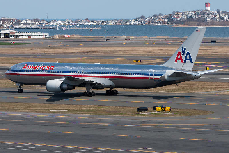 Arriving from London, American's 767 heads over to the international gates.