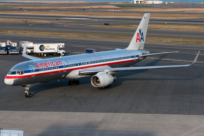 This American 757 is ready for a break as it saunters up to the gate.