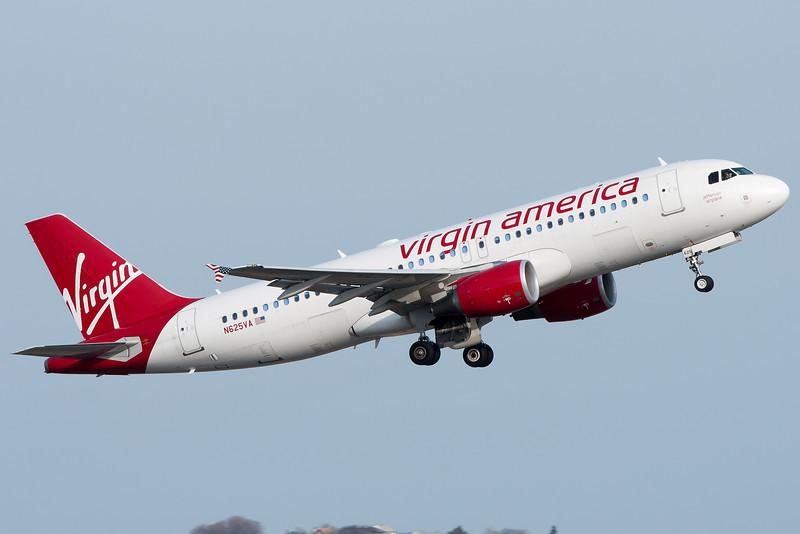 Virgin America A320 departing Logan Airport.