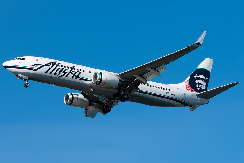 This Alaska Airlines 737 has a lei on the Eskimo's neck.
