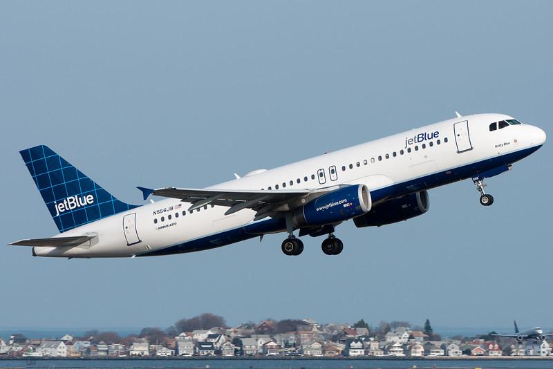 A JetBlue A320 departs Logan Airport.