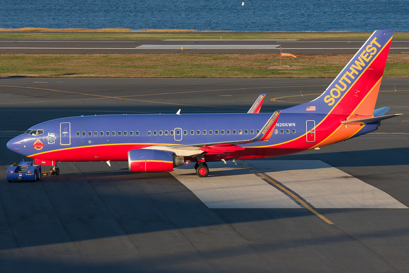 Pushback from the gate for this specially stickered Southwest 737. The stickers are for the Tony Jannus award and Heroine of the Heart.