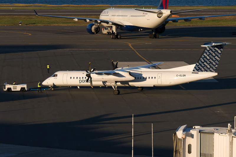 Porter's Q400 gets a pushback from the gate.