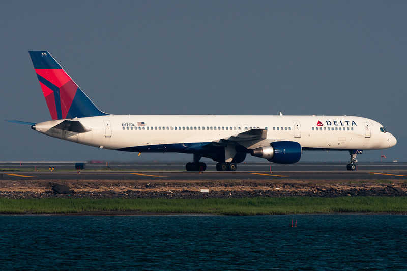 A Delta 757 has just arrived at BOS and is taxiing towards the gates.