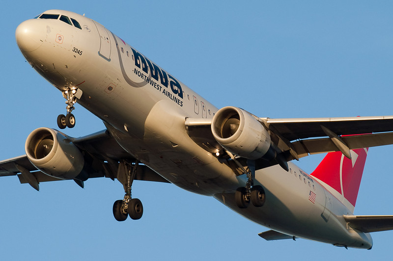 This Northwest Airbus is on final for 27.
