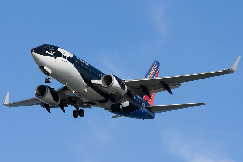 Southwest's Shamu on final for runway 27.