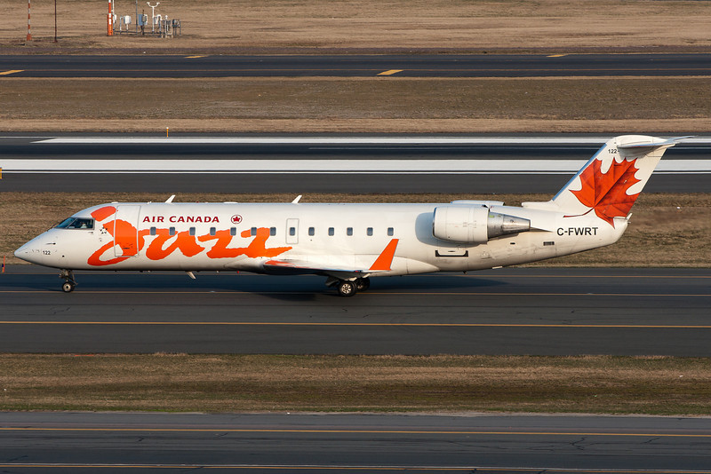 Air Canada Jazz CRJ-200s are a common sight at BOS.