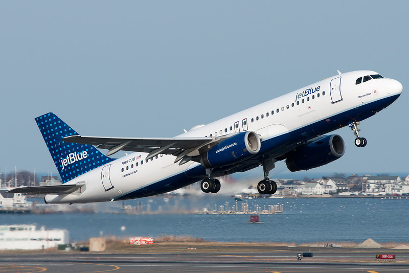 A JetBlue A320 taking off from Logan Airport.