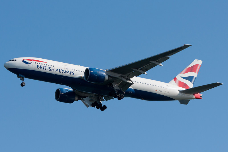 British Airways' 777 graces the skies over Castle Island as it approaches runway 04R.