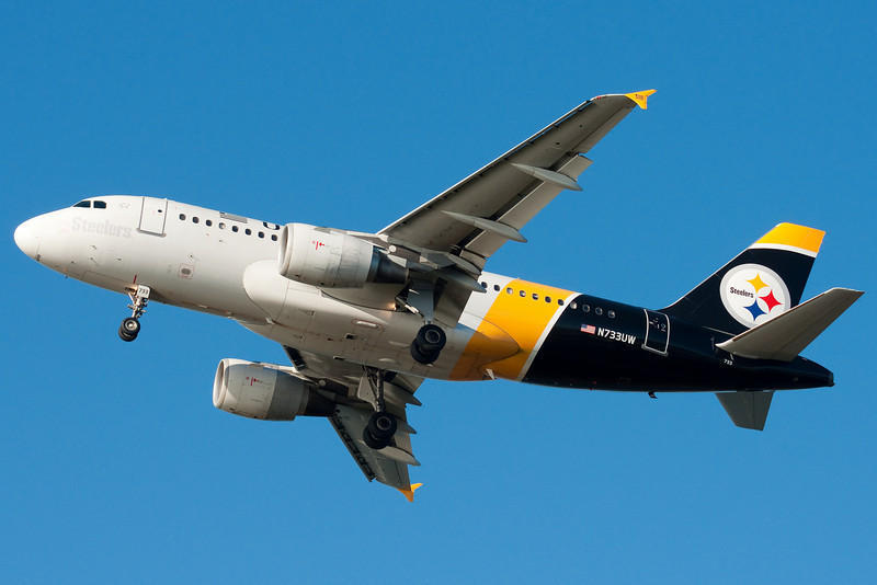 US Airways has several sports schemes, this one here is the Steelers one.