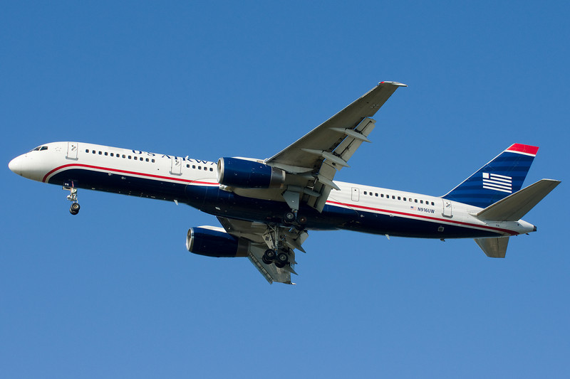 A US Airways 757 on final for runway 27.