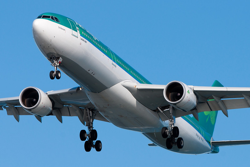 """Aer Lingus A330, """"St. Ronan,"""" on final for runway 27."""