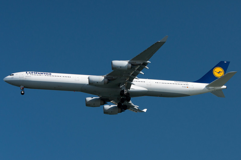 Lufthansa 422 from Frankfurt is on final to runway 04R.
