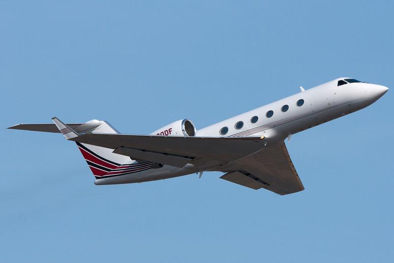 A Gulfstream IV rockets away from Logan Airport.