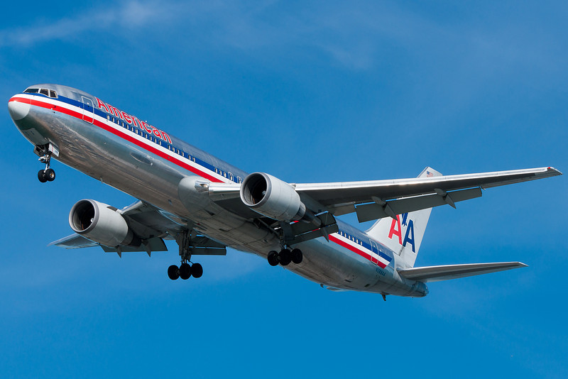 American's 767 from London on final to runway 27.