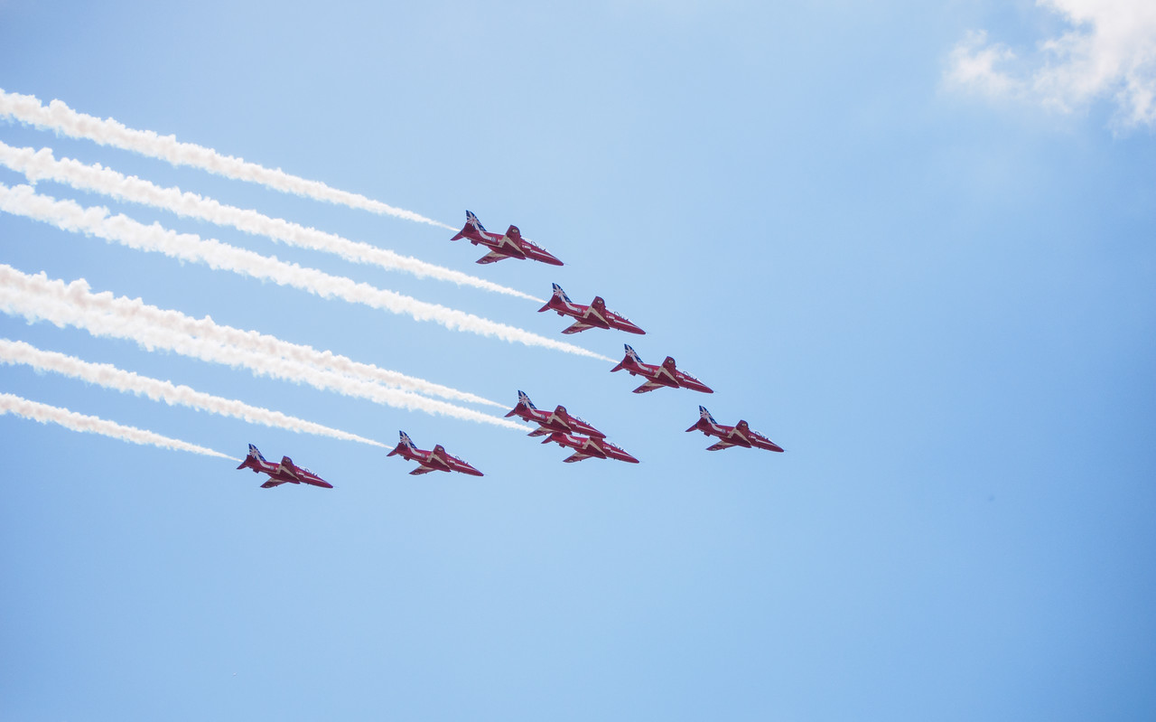 Red Arrows fly past at Bournemouth airport