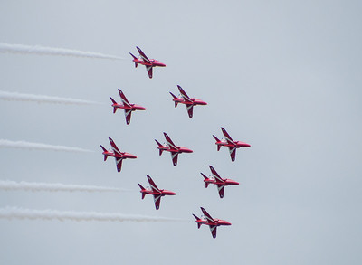 Red Arrow in  tight formation
