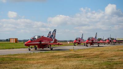 Red Arrows ready for take-off at bournemouth airport